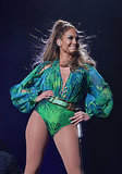 This is Jennifer Lopez — in June 2014 — wearing a Versace leotard inspired by her infamous plunging Grammys gown from 2000.