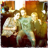 Sarah Michelle Gellar hung out with Michelle Trachtenberg and Seth Green on her Crazy Ones set in February 2014. Source: Twitter user RealSMG