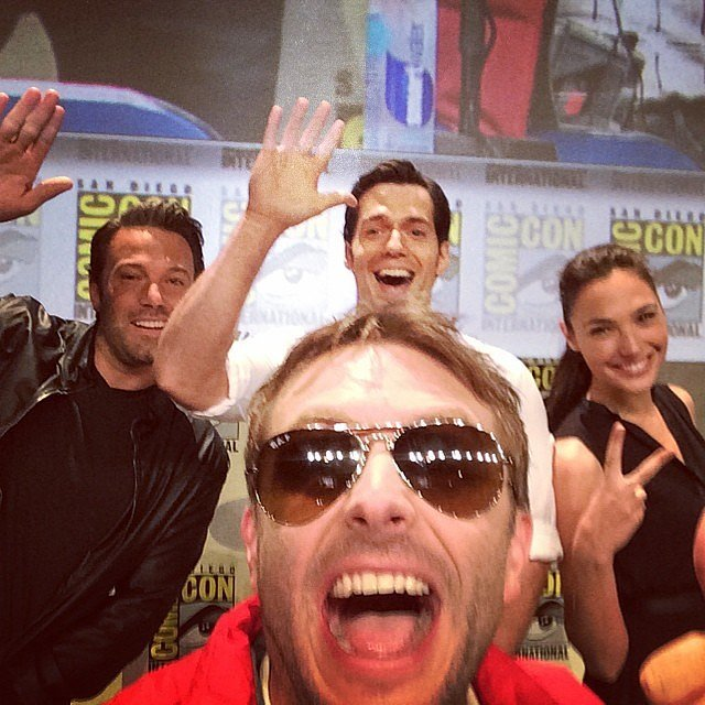 Yes, that's Chris Hardwick hanging with Ben Affleck, Henry Cavill, and Gal Gadot at the Batman v Superman: Dawn of Justice panel.  Source: Instagram user nerdist
