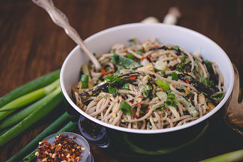 Sesame Soba with Cucumbers, Roasted Eggplant, and Crispy Tofu