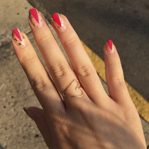 Graphic Gold and Pink Nail Art