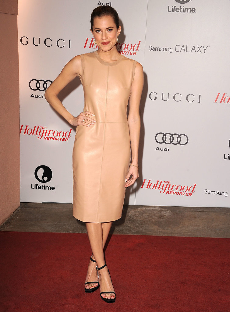 Allison can pull off the sultry look in nude leather just as well as she can in girlie silhouettes.