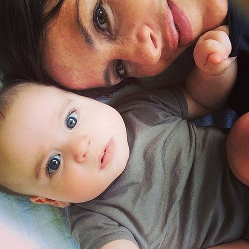 Soleil Moon Frye snuggled up with her baby boy Lyric.  Source: Instagram user moonfrye