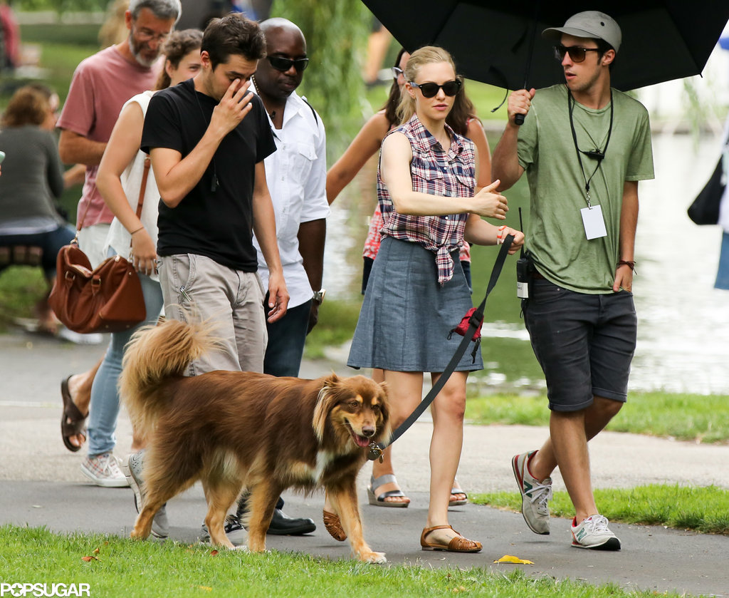 Amanda Seyfried took her dog to the set of Ted 2 in Boston on Friday.