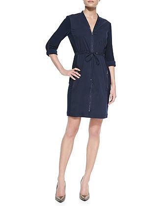 T Tahari Layden Zip-Front Dress