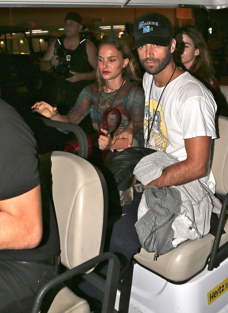 Natalie Portman and Benjamin Millepied got a lift at the Sunday show.