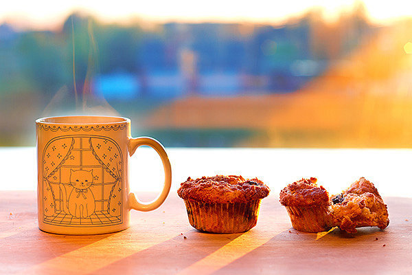 "1. 5-Minute Apple-Cinnamon Microwave Muffin Mix the ingredients for this muffin in a mug, pop in the microwave, and enjoy a healthy, properly-portioned muffin in minutes. Using applesauce and almond butter cuts the saturated fat (usually found in large quantities in coffee shop muffins) almost completely out of this recipe. The egg adds a hidden, but important, 6 grams of satiating protein to this easy one-handed breakfast. The protein in eggs provides steady and sustained energy because it does not cause a surge in blood sugar or insulin levels, which can lead to a rebound effect or energy ""crash"" as blood sugar levels drop. To Make: Melt 1 tbsp. almond butter in a mug in the microwave on low power. Whisk in 1 egg, 2 tbsp. apple sauce, 1/4 tsp. vanilla extract, and 1 tsp. honey into the mug with the melted almond butter. Stir in 3 tbsp whole grain pastry flour, 1/2 tsp cinnamon, 1/8 tsp baking powder, and a pinch of salt until well combined. Microwave on high for about 1 minute or until set. Let cool and enjoy! 2. Better Breakfast Burrito The trick to keeping everything together in this breakfast burrito is pressing it in a grill or panini maker for a minute or two (don't have one? a waffle iron works great as well!). No meat or eggs are needed for this burrito — the combination of beans and the whole wheat tortilla provides both protein and fiber. Fiber and protein take longer to digest than simple carbohydrates, so they keep you fuller longer and prevent a blood sugar spike and crash that can lead to mid-morning munchies or poor choices at lunch. To Make: Spread 1/2 cup fat-free refried beans onto one whole wheat tortilla. Top with 1/4 cup shredded cheese, 1 cup baby spinach leaves and 2 tbsp. salsa. Roll up and put on grill (or waffle maker), close the lid and cook 2-3 minutes until tortilla is slightly crispy and everything is sealed together. Photo: Anna Gorin"