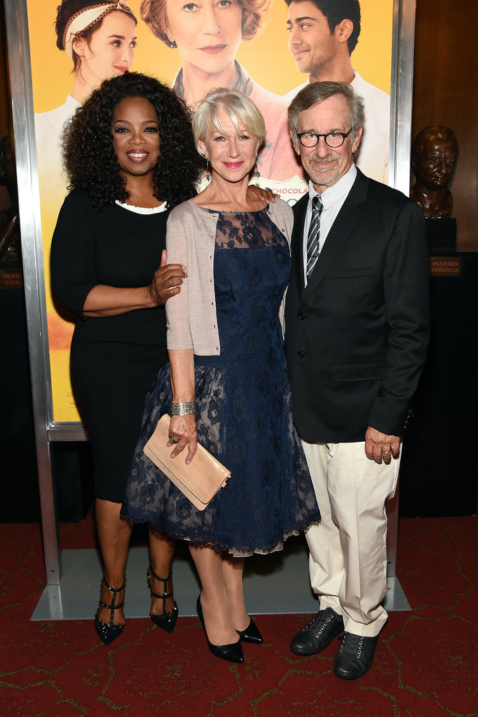 Oprah Winfrey, Helen Mirren, and Steven Spielberg posed for photos at the Monday night premiere of The Hundred-Foot Journey in NYC.