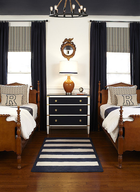 An Ultratraditional Navy and White Boy's Room