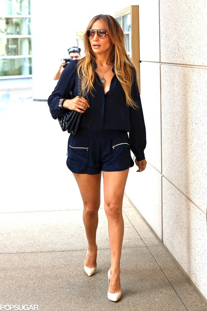 Jennifer Lopez showed off her legs on Monday in LA.