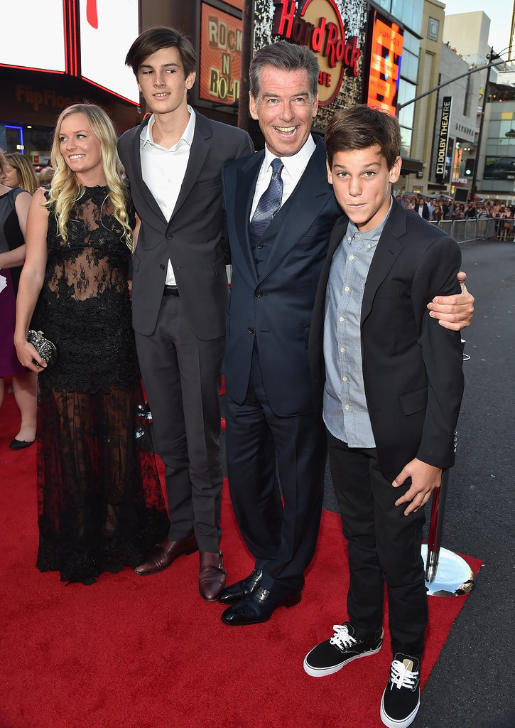 Pierce Brosnan had the support of his handsome sons — Dylan and Paris — when he hit the red carpet at the LA premiere of his new movie, The November Man, on Wednesday.
