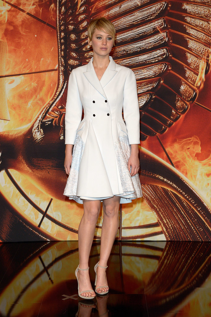 Jennifer's cropped cut amped up her sophistication, and this Christian Dior coat dress complemented the look for the German premiere of The Hunger Games: Catching Fire.