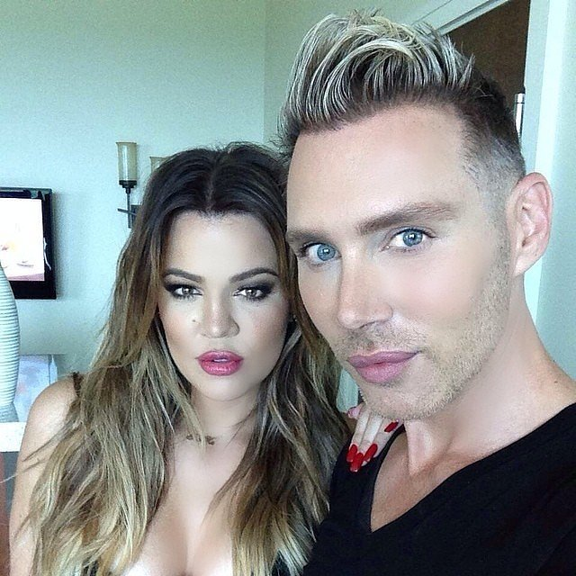 Khloé Kardashian gave a fierce look to the camera with her makeup artist.  Source: Instagram user khloekardashian
