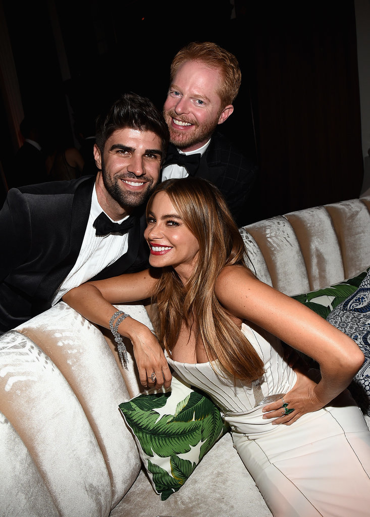 Sofia Vergara and Jesse Tyler Ferguson smiled big with Jesse's husband, Justin Mikita.