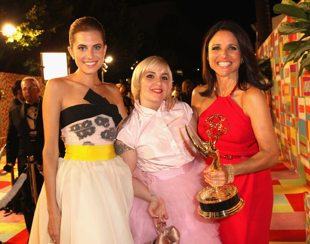 Allison Williams and Lena Dunham posed with winner Julia Louis-Dreyfus at the HBO party.
