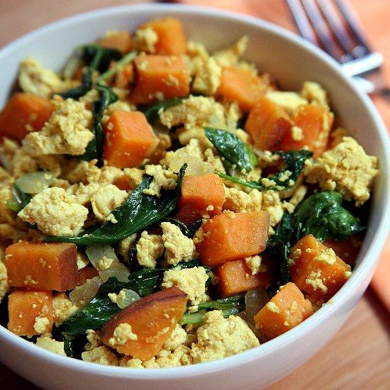 Vegan Breakfast Recipes: Tofu, Kale, Sweet Potato Scramble