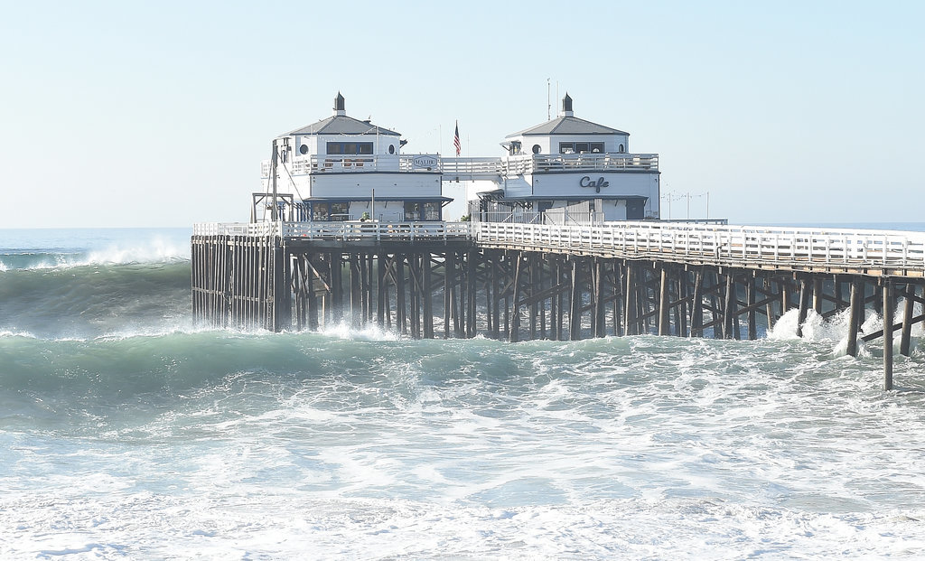 The coast of California saw big swells hit the Malibu Pier due to Hurricane Marie.