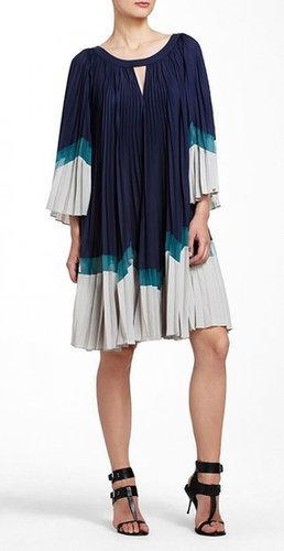 $185.00 BCBG ALESSANDRA COLOR-BLOCKED PLEATED COCKTAIL DRESS