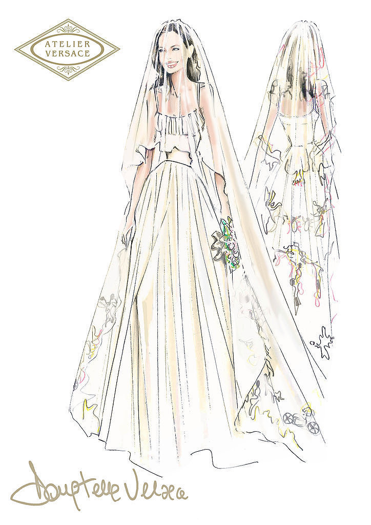 The Sketch of Angelina Jolie's Wedding Veil