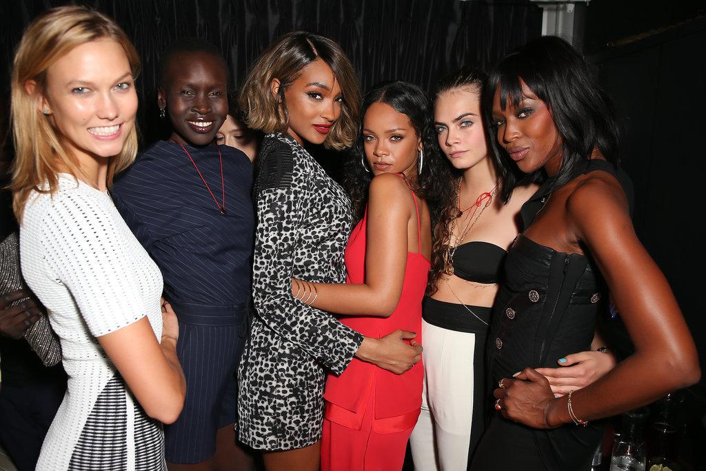 Karlie Kloss, Alek Wek, Jourdan Dunn, Rihanna, Cara Delevingne, and Naomi Campbell