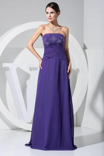 Strapless Beaded Purple Evening Dress