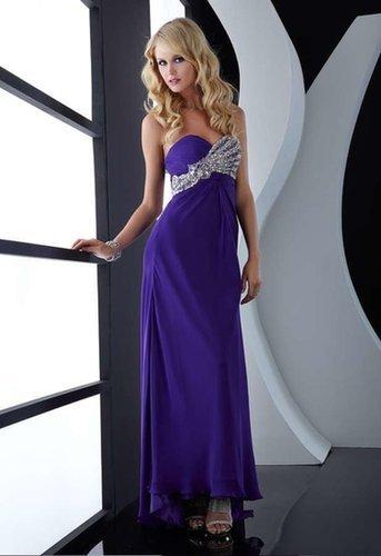 Strapless Long Beaing Purple Evening Dress