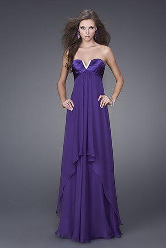 Purple Strapless Long Evening Dress