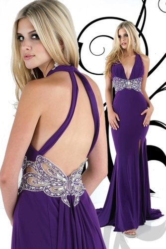 V Neck Beaded  Backless Purple Evening Dress