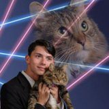 Guy With Cat in Funny Yearbook Photo