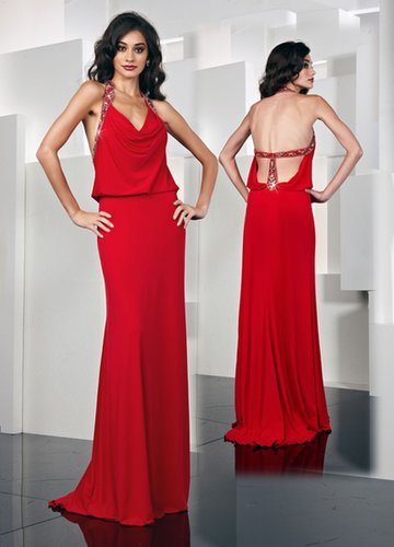 Jersey Spaghetti Strap Bodice Red Long Prom Dress