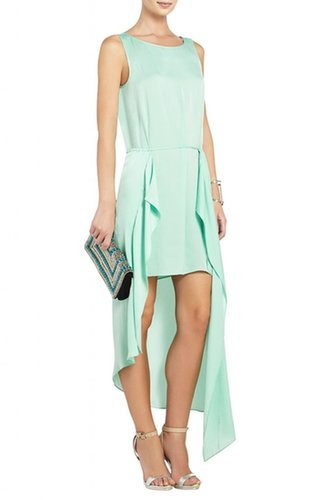 $155.00 BCBGMAXAZRIA URIKA ASYMMETRICAL DRESS GREEN