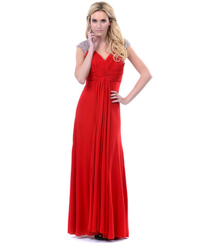 Red Jersey Rhinestone Cap Sleeve Prom Dress