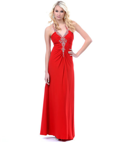 Red Grecian Long Jersey Prom Dress