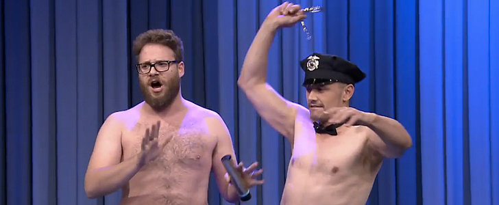 Shirtless Seth Rogen and James Franco Surprise Jimmy Fallon on His B'Day!