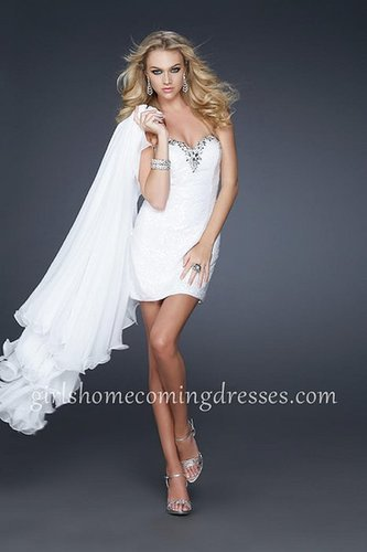 Beautiful Strapless White High Low Dresses Sequin Embellished For Homecoming