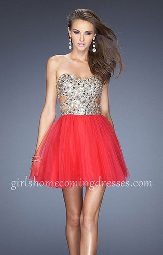 Short Sequin Hot Fuchsia Strapless Homecoming Dress By La Femme 19701