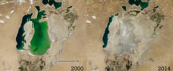 Shocking Photos Show One of the World's Largest Lakes Disappearing