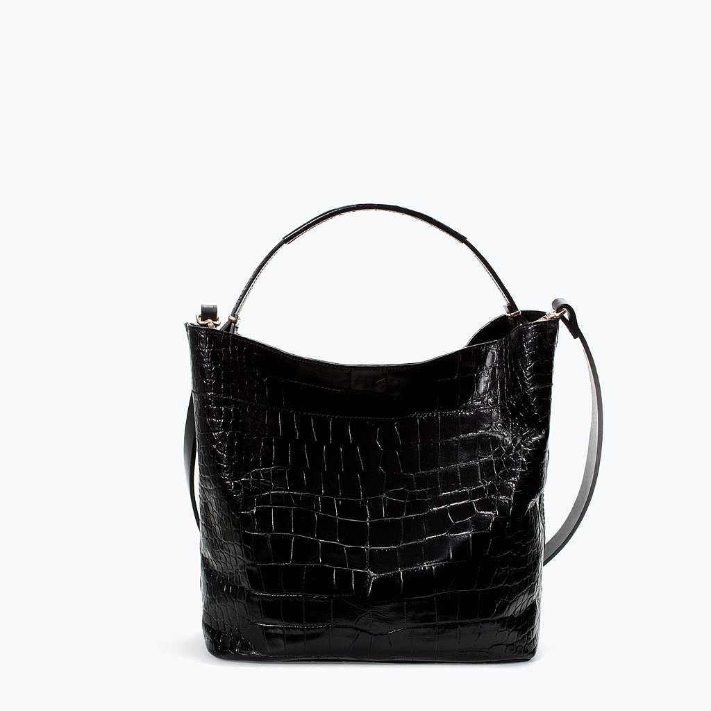 zara croc leather bucket bag 28 bags that go with absolutely
