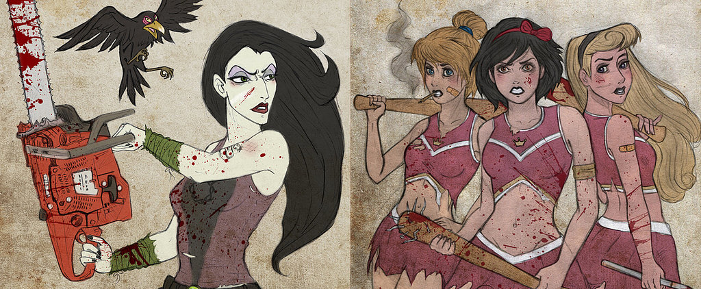 Disney Princesses Become Badass Zombie Fighters in Walking Dead Art