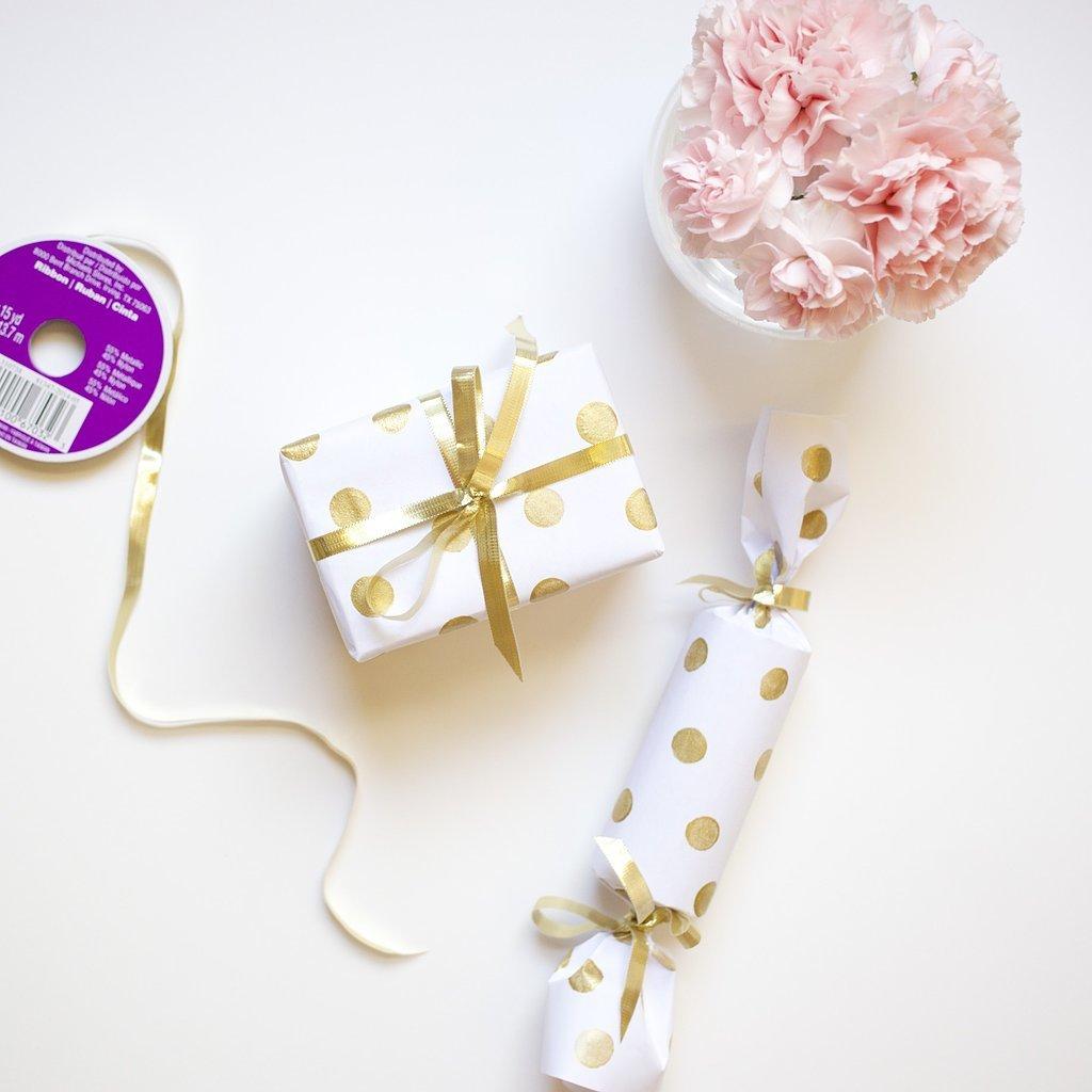 DIY Gold Polka-Dot Wrapping Paper
