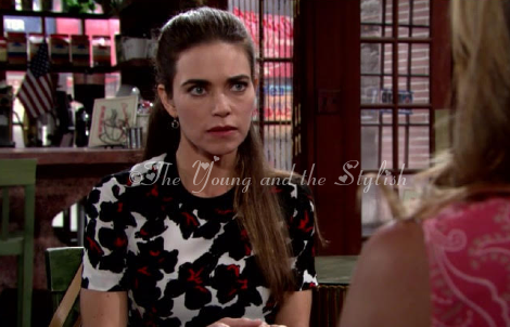victoria newman black and white printed top the young and the restless
