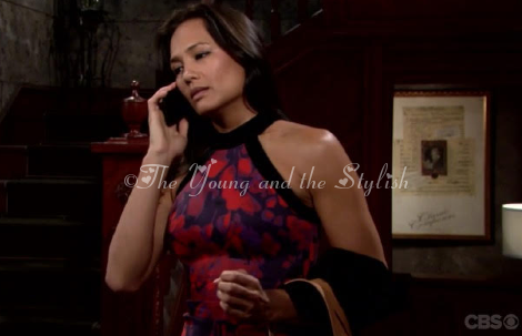 gwen randall printed halter dress the young and the restless