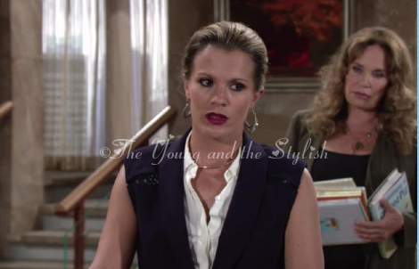 chelsea newman blue lace vest the young and the restless