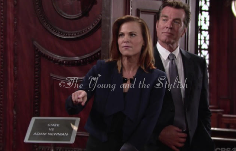 phyllis newman blue drape jacket the young and the restless