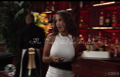lily winters ashby white and black dress the young and the restless