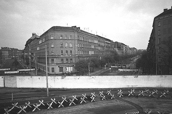 Autumn in East Berlin, 1982 - Bernauer Street at the corner of Eberswalder-Oderberger streets in East Berlin.