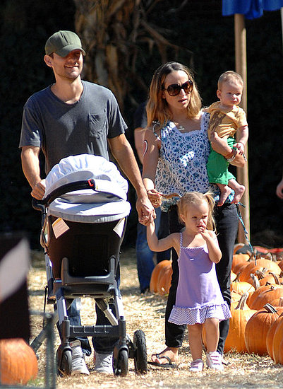 Tobey Maguire and family at the Pumpkin patch