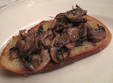 Crickets With Eggs on Mushroom Bruschetta