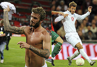 Photos of Shirtless David Beckham Playing Soccer for England
