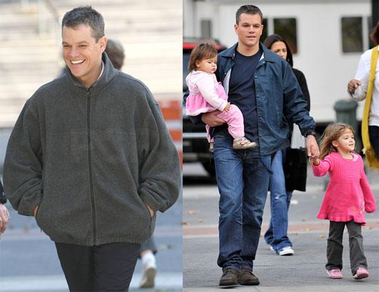 Photos of Matt Damon and His Kids on Set 2009-10-26 08:37:00